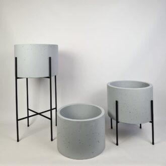 Комплект горщики з бетону Циліндр 33см ral 7047 на підставках