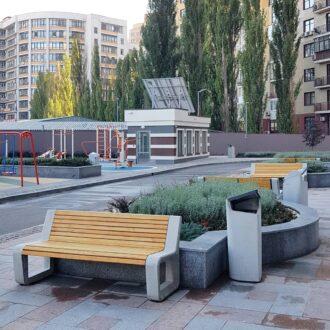 Лавочка из бетона «Urban B» со спинкой